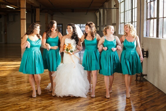 Teal bridesmaid dresses for Teal, Orange and Grey December Wedding 2020