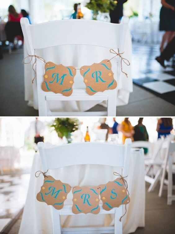 Wedding chairs decorations for Teal, Orange and Grey December Wedding 2020
