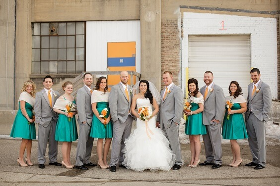Wedding party wearing for Teal, Orange and Grey December Wedding 2020