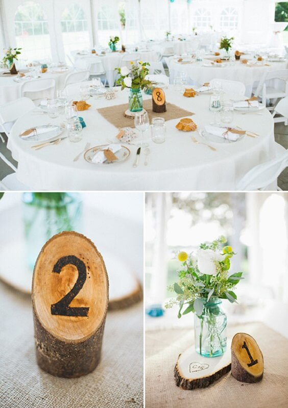 Wedding table decorations for Teal, Orange and Grey December Wedding 2020