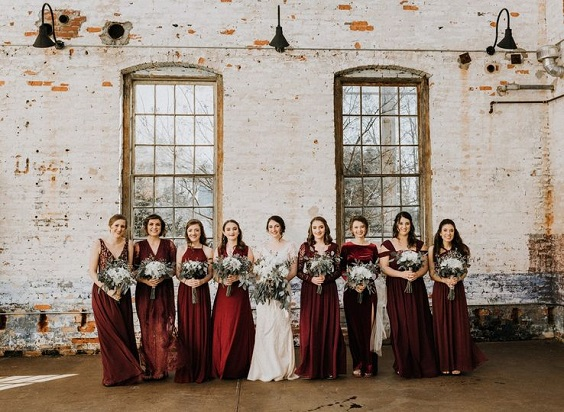 burgundy bridesmaid dresses for january wedding colors 2022 burgundy and navy blue