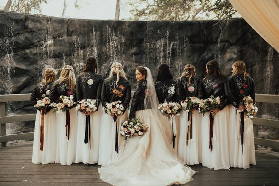 white bridesmaid dresses and black jackets for january wedding colors 2022 white rust and black