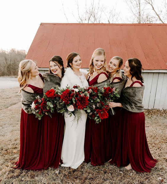 white bridal gown and maroon bridesmaid dresses for january wedding colors 2022 maroon green and white