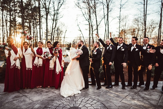burgundy bridesmaid dresses black men's suits white bridal gown for february wedding colors 2022 burgundy black and white colors
