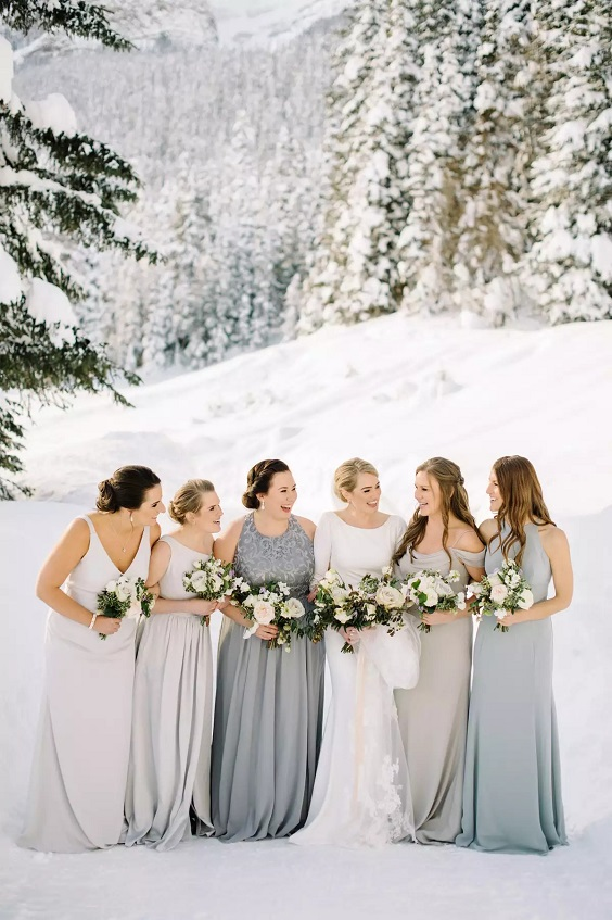 dusty blue bridesmaid dresses and slate grey bridesmaid dresses for february wedding colors 2022 dusty blue slate grey and brown colors