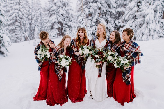red bridesmaid dresses for february wedding colors 2022 red grey and navy blue colors