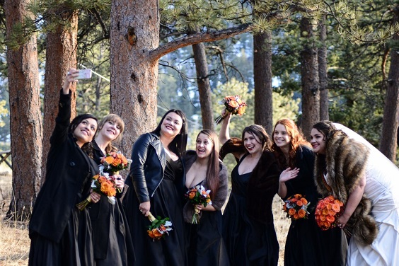 black bridesmaid dresses for february wedding colors 2022 black tangerine and brown colors