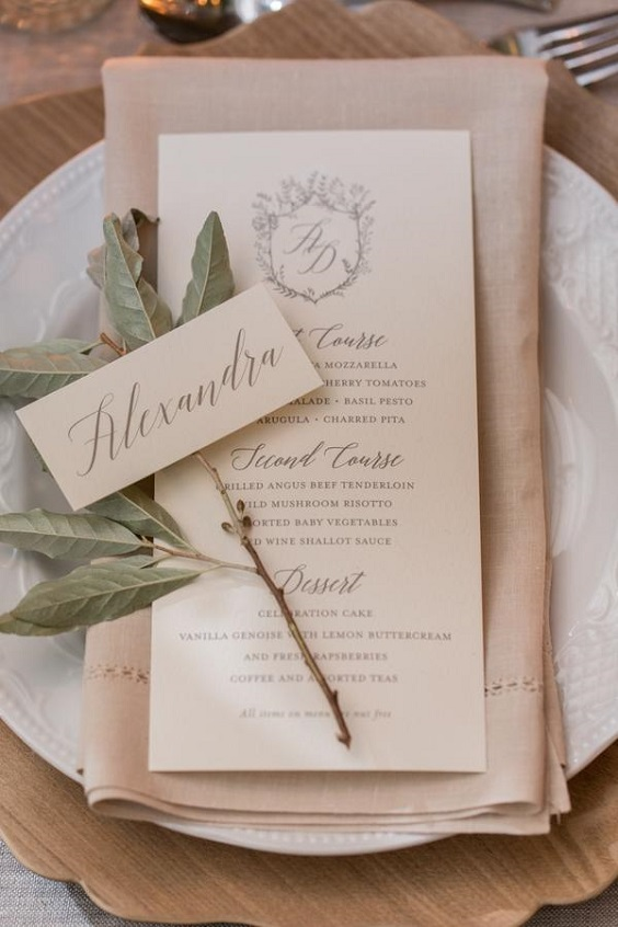 blush napkin with green accents for march wedding colors 2022 blush