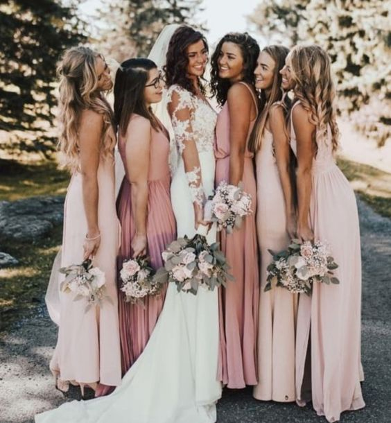 dusty rose bridesmaid dresses and blush bridesmaid dresses for march wedding colors 2022 blush