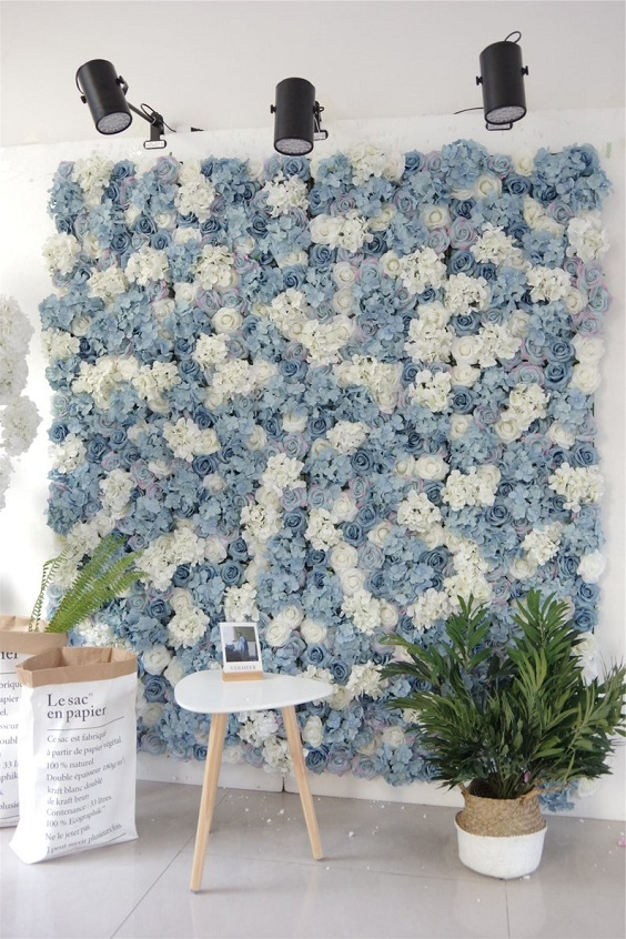 dusty blue and white floral wall for march wedding colors 2022 dusty blue white and blush