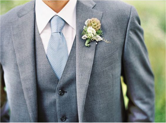 grey mens suit with blue tie for march wedding colors 2022 dusty blue white and blush