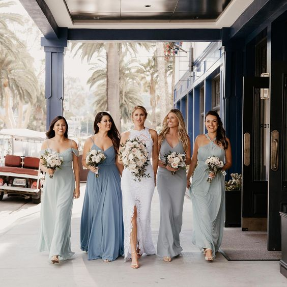 light grey and dusty blue bridesmaid dresses for march wedding colors 2022 dusty blue white and blush