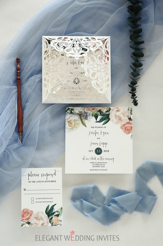 white and blush invitations for march wedding colors 2022 dusty blue white and blush