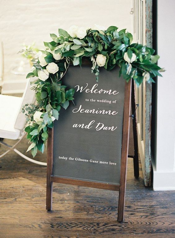 welcome sign with greenery for march wedding colors 2022 grey and greenery