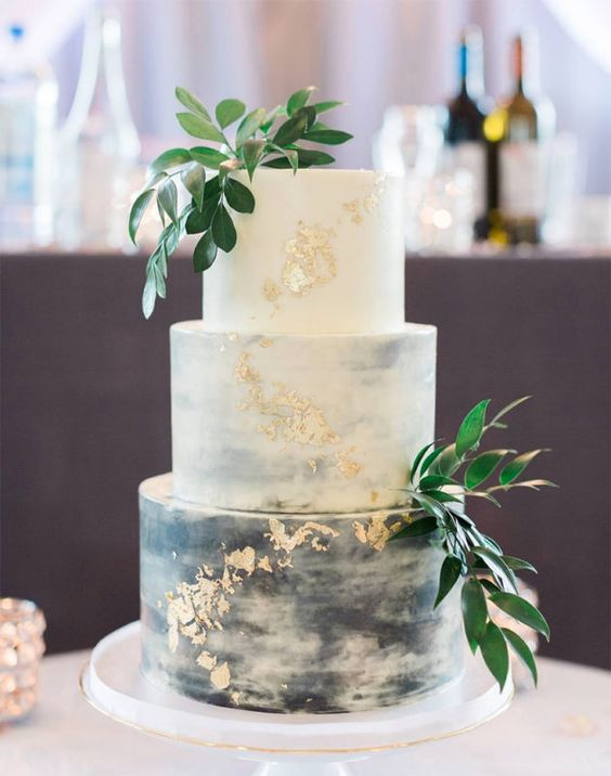 white and grey wedding cake for march wedding colors 2022 grey and greenery