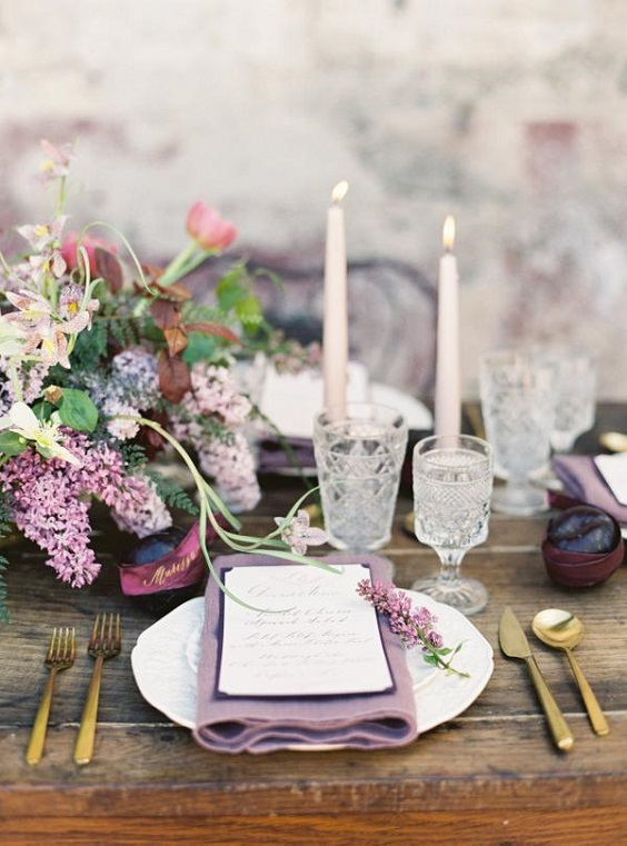 mauve and green table setting for march wedding colors 2022 mauve and green