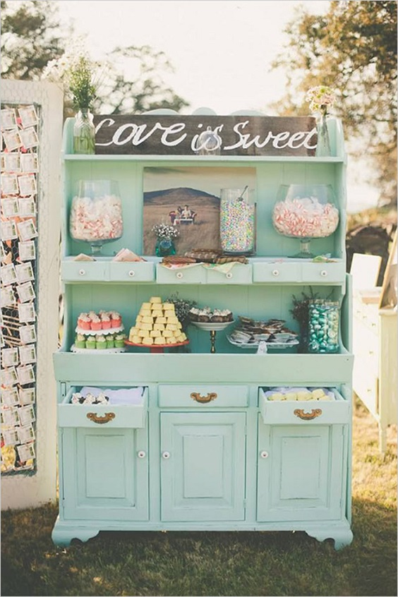 cabinet and desserts for march wedding colors 2022 mint green and peach