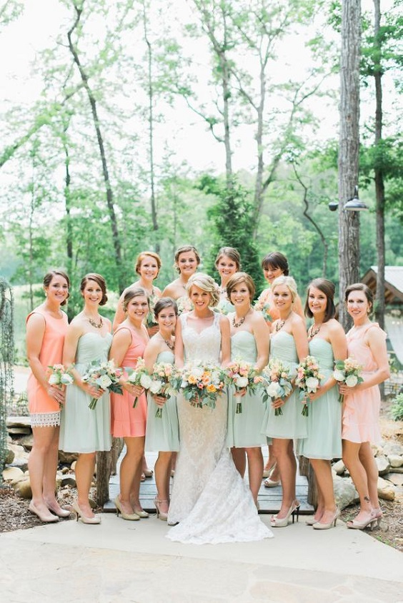 mint green and peach bridesmaid dresses for march wedding colors 2022 mint green and peach