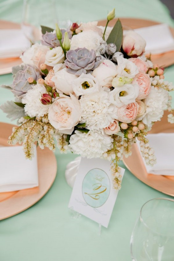 table setting for march wedding colors 2022 mint green and peach