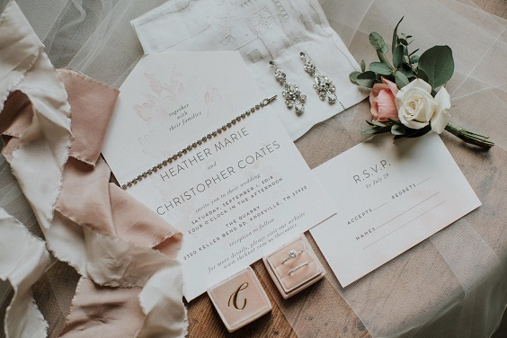 invitation and rings for march wedding colors 2022 sage green and blush