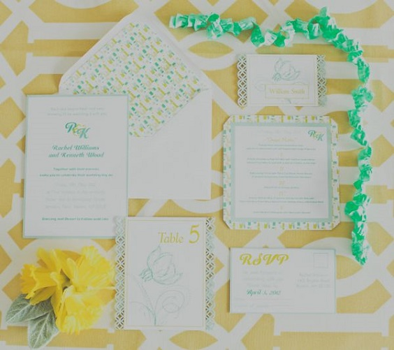 mint and yellow edding stationery for April wedding colors 2022 mint yellow and white