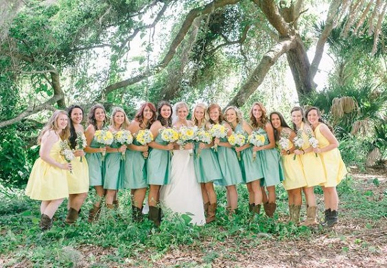 mint bridesmaid dresses and yellow bridesmaid dresses for April wedding colors 2022 mint yellow and white
