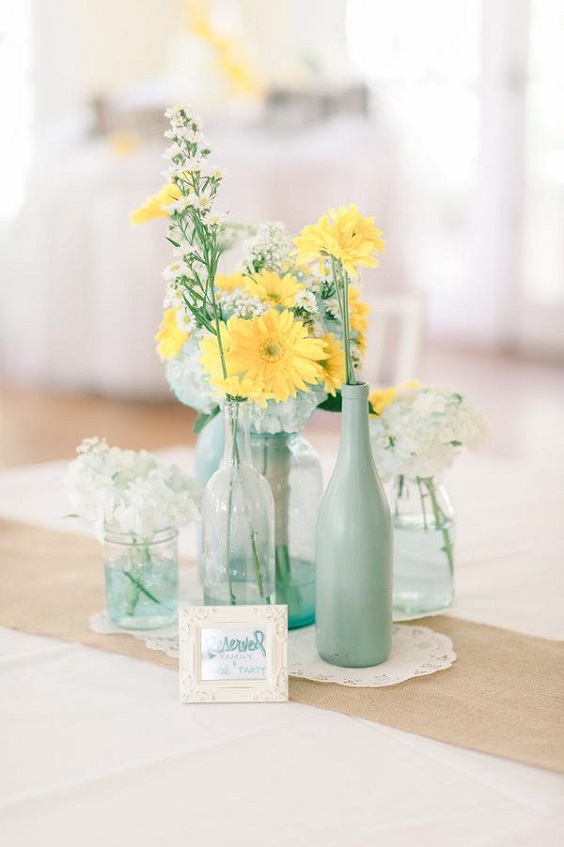 wedding table centerpieces for April wedding colors 2022 mint yellow and white