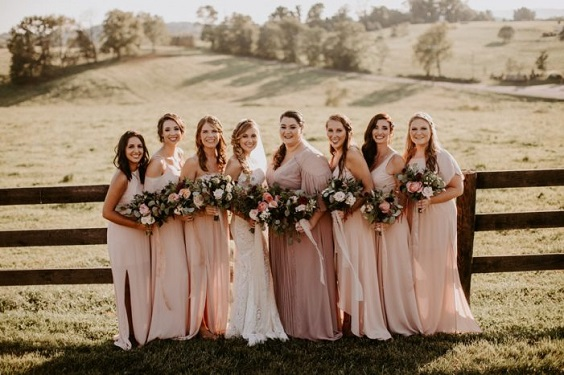 dusty rose bridesmaid dresses for April wedding colors 2022 dusty rose champagne rose gold