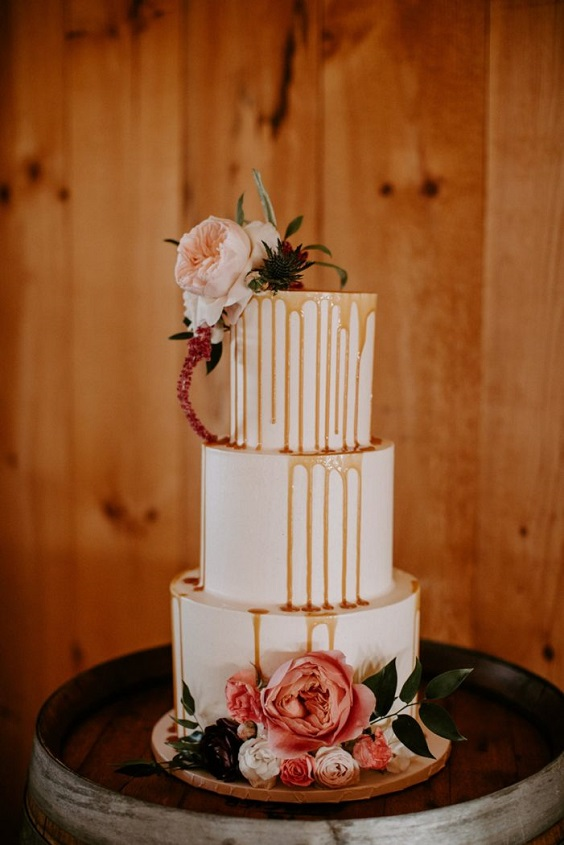 dusty rose wedding cake for April wedding colors 2022 dusty rose champagne rose gold