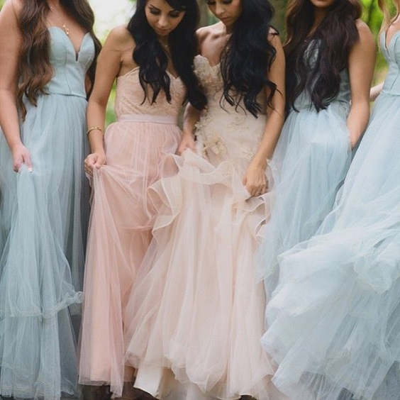 blush bridesmaid dresses and light blue bridesmaid dresses for April wedding colors 2022 light blue blush and peach colors