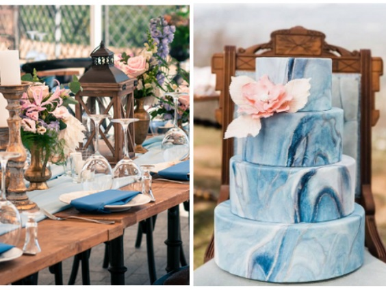 light blue and blush wedding cake and table setting for April wedding colors 2022 light blue blush and peach colors