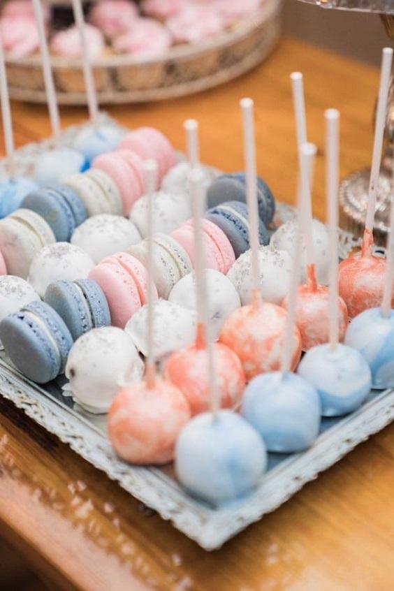 light blue wedding cake pops for April wedding colors 2022 light blue blush and peach colors