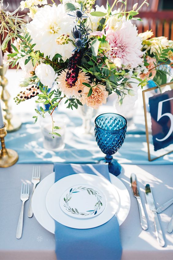 light blue wedding napkin for April wedding colors 2022 light blue blush and peach colors