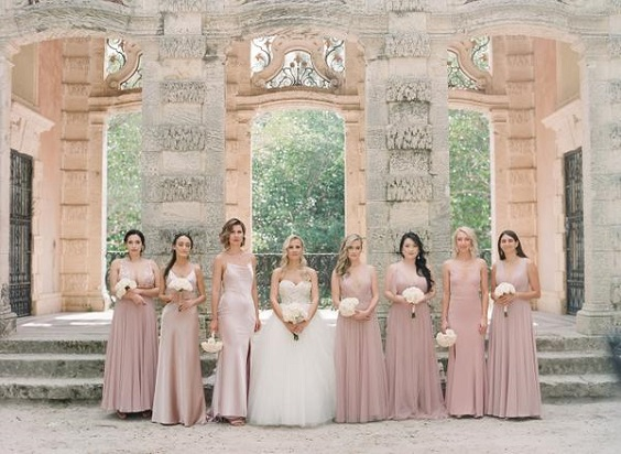 light pink bridesmaid dresses for April wedding colors 2022 light pink pale yellow and gold colors