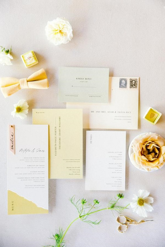pale yellow wedding invites for April wedding colors 2022 pale yellow and white colors