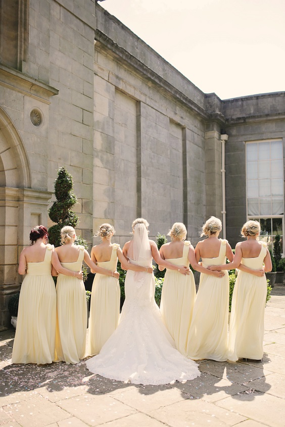 white bridal gown pale yellow bridesmaid dresses for April wedding colors 2022 pale yellow and white colors