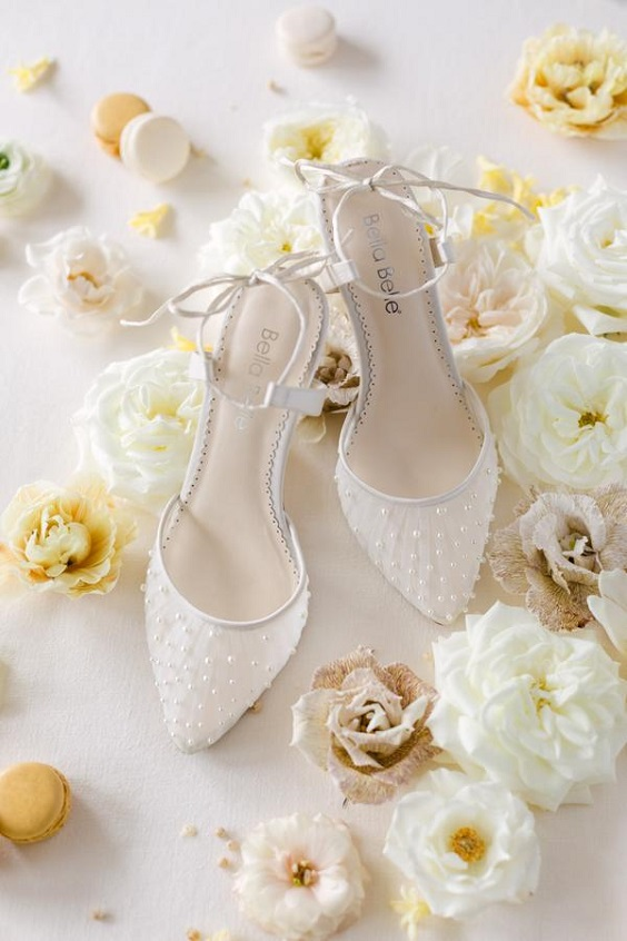 white wedding shoes for April wedding colors 2022 pale yellow and white colors