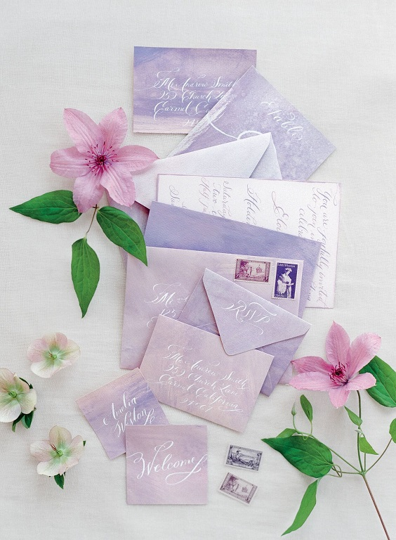 lavender wedding invites for April wedding colors 2022 light pink pale yellow and gold colors
