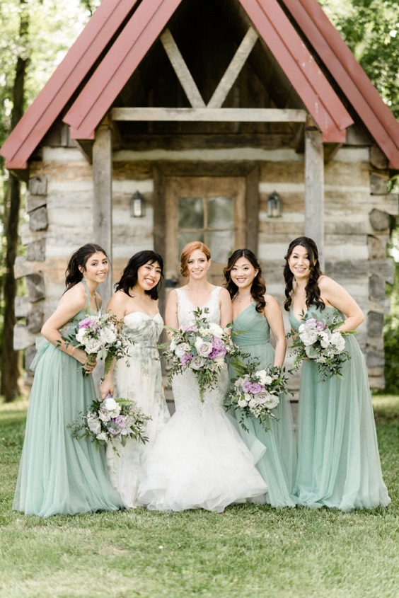 sage green bridesmaid dresses for April wedding colors 2022 sage green lavender and greenery colors