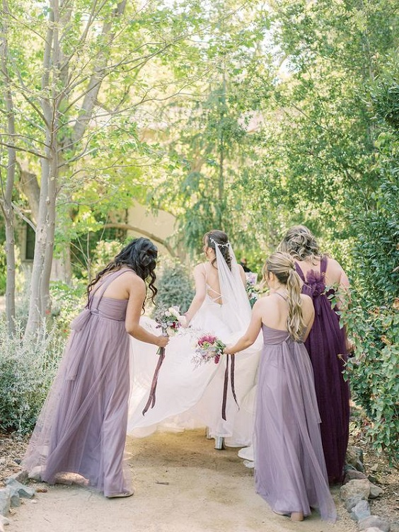 plum and lilac bridesmaid dresses for April wedding colors 2022 shades of purple colors
