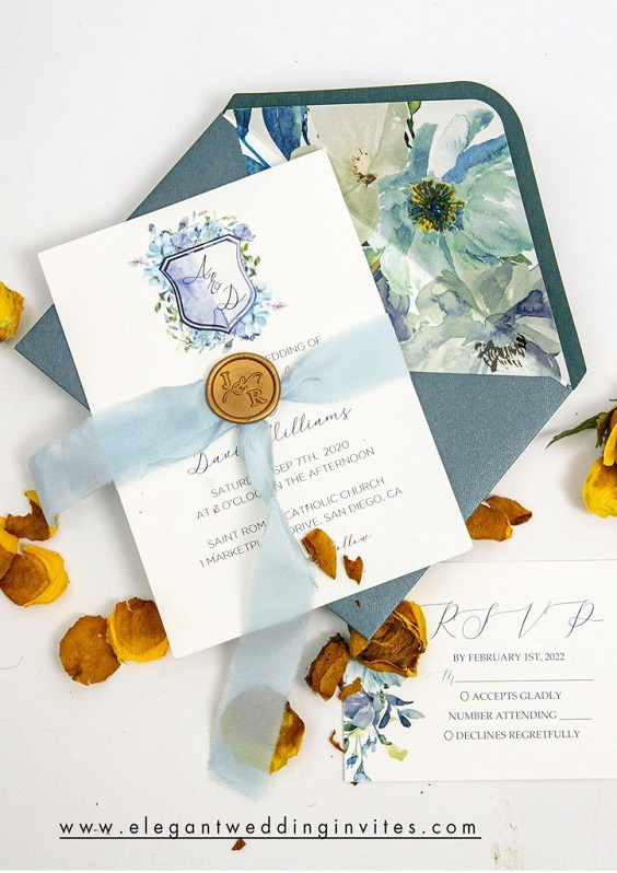 dusty blue and white invitation for june wedding colors 2022 dusty blue and yellow