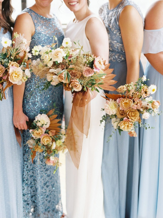 dusty blue bridesmaid dresses for june wedding colors 2022 dusty blue and yellow