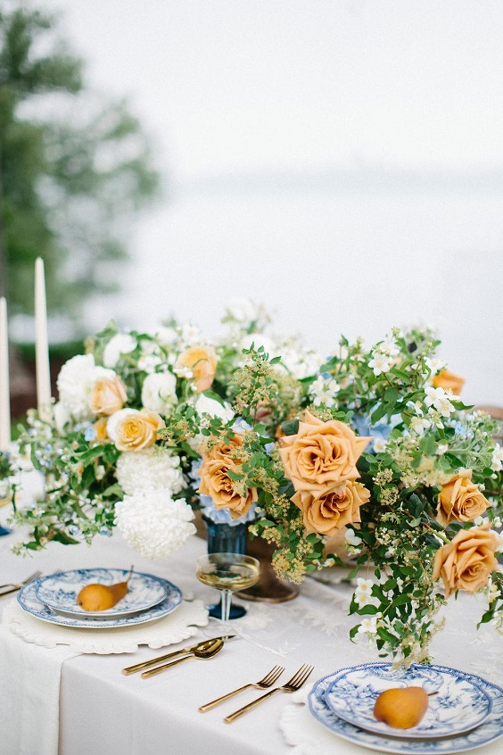 table settings for june wedding colors 2022 dusty blue and yellow