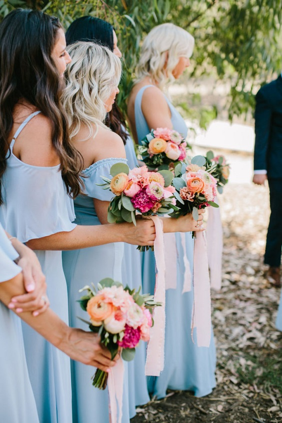 ice blue bridesmaid dresses for june wedding colors 2022 ice blue and fuschia