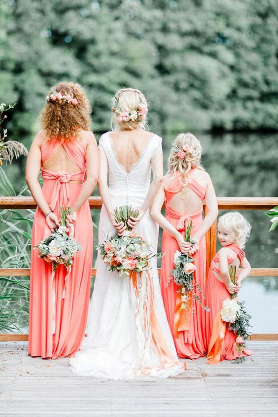 peach bridesmaid dresses for june wedding colors 2022 peach and coral
