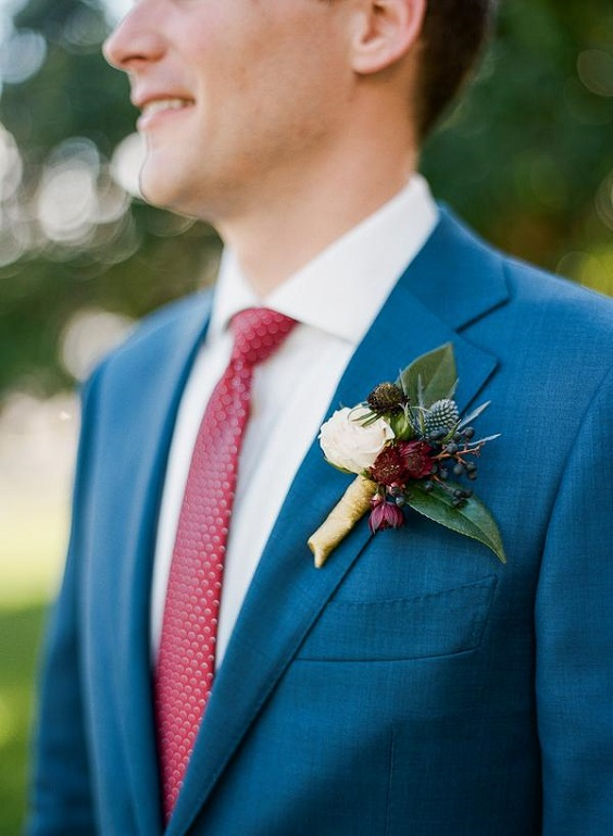 blue mens suit with raspberry tie for june wedding colors 2022 raspberry and blue