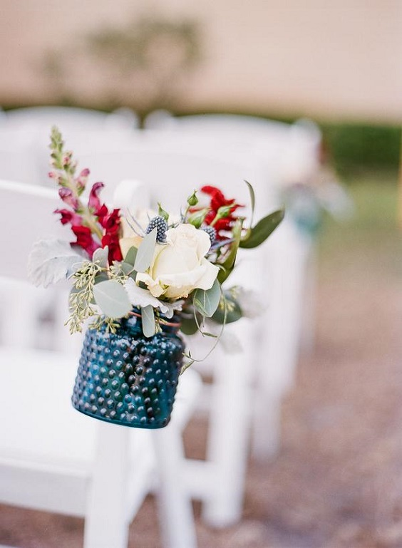 chairs with decorations for june wedding colors 2022 raspberry and blue