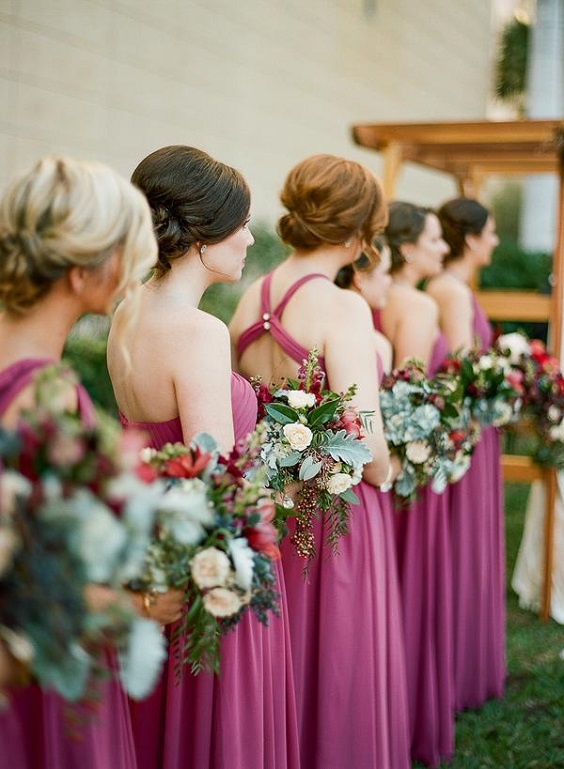 raspberry bridesmaid dresses for june wedding colors 2022 raspberry and blue