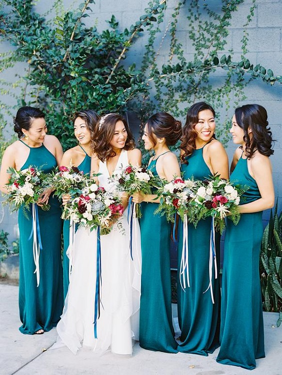 teal bridesmaid dresses for june wedding colors 2022 teal and gold