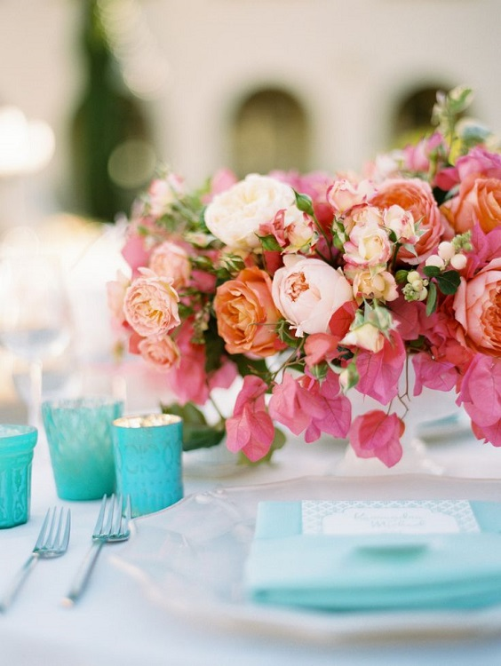 turquoise and pink table setting for june wedding colors 2022 turquoise and pink